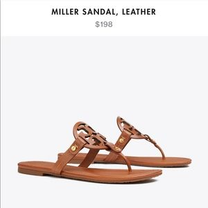 Tory Burch Miller Sandal Leather Brown